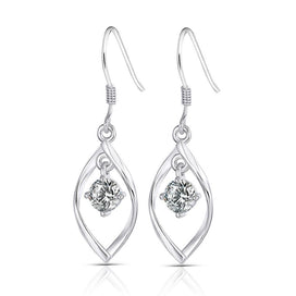 14k white gold earrings - 14K 585 White Gold 1CTW 5MM F Color VVS Moissanite Drop Earrings For Women Party Shiny Ladies