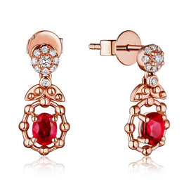 Gold earrings for women - 14K Rose Gold 0.50ct Natural Ruby H SI Diamond Engagement Wedding Drop Earrings