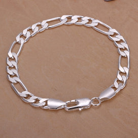 Silver chain bracelet womens - 20cm Silver Solid 8MM Chain Classic Women Cute Men Women Bracelets Fashion Jewelry Christmas