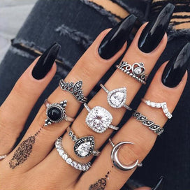 Wedding bands for women - 10PCS/Set Vintage Antique Silver Moon Heart Ring Set Crown Opal Stone Finger Midi Rings Set For