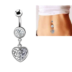 Titanium belly button rings - Fashion Sexy Dangle Belly Button Rings Navel Piercing Jewelry Titanium Steel Zircon Crystal For
