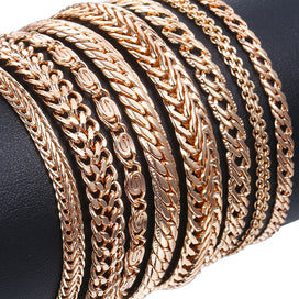 Rose gold chain bracelet - 20cm Bracelets For Women 585 Rose Gold Curb Snail Link Chains Women Bracelets Fashion Jewelry