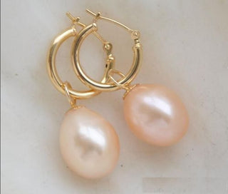 Pink pearl earrings - AAAA+ 9-10mm Freshwater Pearl Pink Pearl Earring