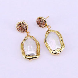 Pearl earrings gold - 5Pairs Fashion Jewelry Gold Color Nature Pearl Earring Freedom Freshwater Pearl Dangle Earrings Women