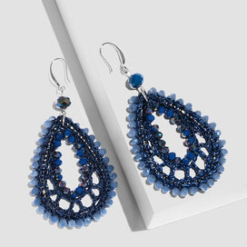 Beaded dangle earrings - Bohemia Blue Beaded Earrings For Woman Statement Hangers Earrings Handmade Ethnic Jewelry Dangle