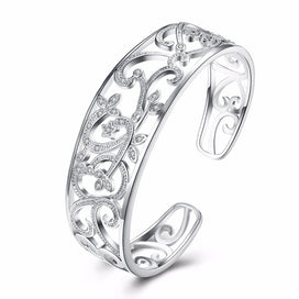 Sterling silver cuff bracelet - 925 Solid Silver Plated Branch Cuff Bracelets Bangles For Women Jewelry Accessories