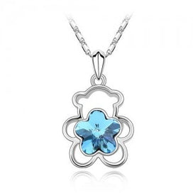 Blue crystal necklace - Cute Bear Pendant Plum Flower Austrian Crystal Charm Women Fashion Jewelry Summer Party Girl