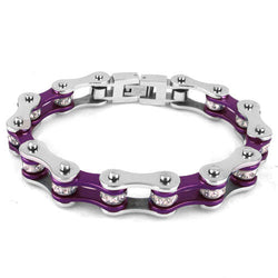Bike chain bracelet - Colorful Bling Bicycle Chain Crystal Motor Biker Women Stainless Steel Bracelet Girls Purple Pink Red