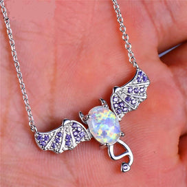 Sterling silver opal necklace - Cute Female Big Bat Animal Pendants Necklaces Vintage 925 Sterling Silver Jewelry Boho White