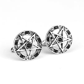 2 Color Cufflinks For Women Mens Movie Jewelry Supernatural Pentagram Tie Clips & Cufflinks Rhinestone Crystal Cuff Buttons Pins