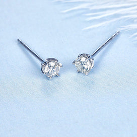 Diamond stud earrings for women - 0.1ct Diamond Earrings Gold 18K Jewelry For Women Small Diamond Two Color For Choose