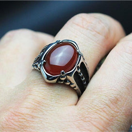 Black / Red Onyx Stone Mens Ring Thick Band In Well Polished Antique Titanium Stainless Steel Vintage Cool Mens Jewelry Free Box