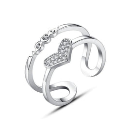 Promise rings for girls - Authentic S90 Silver Double Lines Adjustable Love Heart Promise Rings Clealry CZ Stones Women