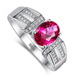 Engagement rings for women - 1.45ct Oval Ruby & Emerald & White Topaz For Unisex Solid 925 Sterling Silver Ring Size