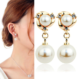 Stud earrings for women - Classic Vintage White Pearl Earring Fashion Long Stud Earrings For Women Wedding Party Rhinestone