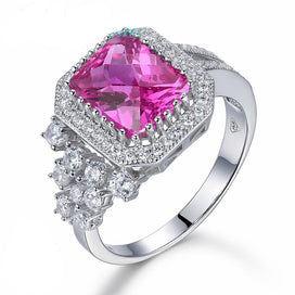 Engagement rings for women - 100% Solid 925 Sterling Silver Rings 3.98ct Pink Ruby Ring For Women Square Gemstone Fine Gift