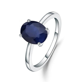 Blue sapphire engagement rings - 2.02Ct Oval Natural Blue Sapphire Wedding Band Ring 925 Sterling Silver Birthstone Ring For