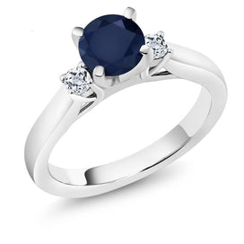 Blue sapphire engagement rings - 1.28 Ct Round Natural Blue Sapphire White Topaz 925 Sterling Silver 3-Stone Engagement Ring