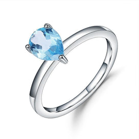 Blue topaz engagement ring - 1.31Ct Natural Sky Blue Topaz Gemstone Ring 925 Sterling Silver Solitaire Engagement Rings For