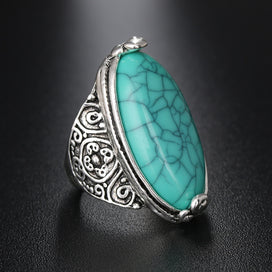 Vintage turquoise rings - 1 PC Vintage Bohemian Turquoises Rings Women Tibetan Flower Tail Antique Silver Plated Oval Stone