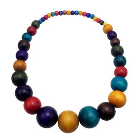 Multi color beads necklace - Bohemia Colorful Unique Wood Beads Exaggerated Necklace For Women Statement Necklace Jewelry