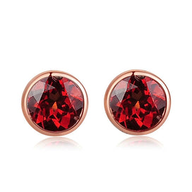 Sterling silver stud earrings - 1ct 100% Natural Small Round Red Garnet Stud Earrings For Women 18K Rose Gold Plated 925