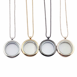 Charm necklace chain - 30mm Round Magnetic Glass Floating Locket charms Memory Photo Locket 4 Colors 2 Styles