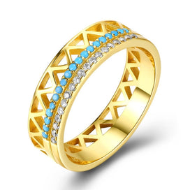 Sterling silver turquoise rings - 925 Sterling Silver Women Rings Turquoise Zircon Wedding Rings Golden Color Silver CZ Rings