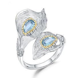 Sterling silver rings for women - 1.25C Natural Swiss Blue Topaz Calla Lily Leaf Rings 925 Sterling Silver Handmade Ring For