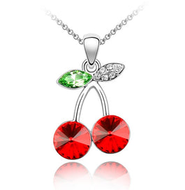 Pink crystal necklace - Austrian Crystal Red Pink Cherry Design Pendant Necklae Women Fashion Jewelry Free Girl Gift