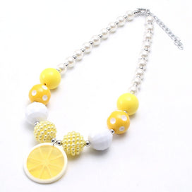 Acrylic bead necklace - 1pc Red/yellow Lemon Slice Pendant Necklace Chunky Baby Bubblegum Beaded Necklace For Girls Kids