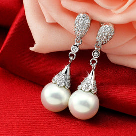 Sterling silver drop earrings - 925 Sterling Silver Clear Crystal Long Drop Earrings For Bridal Wedding Jewelry Women Pearl