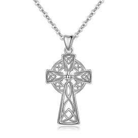 Sterling silver cross necklace womens - 925 Sterling Silver Celtics Cross Pendant Necklaces For Women Girl Birthday Gift