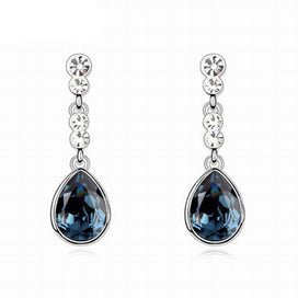 Crystal drop earrings - 5 Colors Neo-Gothic Water Drop Earring Romantic Long Earrings For Women Elegant Fashion Crystal