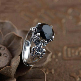 Black onyx rings for women - 925 Sterling Silver Black Onyx Stone Rings For Women Carving Vintage Anchor Inlaid Natural Type