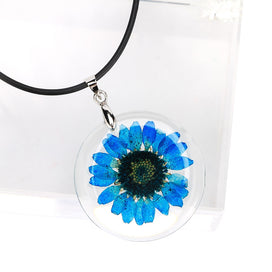 Dried flower necklace - 1 Pcs Beauty Cute Dried Daisy Flower Handmade Pendant Necklace Charm Gift Women's Jewelry Round