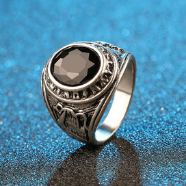 Black opal ring - Black Vintage Big Opals Ring For Men /Women Retro Silver Color Jewelry Biker Ring