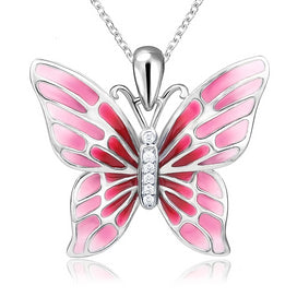 Sterling silver butterfly necklace - 100% 925 Sterling Silver Cute Butterfly Charms Pendant Chain Necklace With Red Enamel