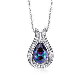 Rainbow crystal necklace - 925 Sterling Silver Pendant Rainbow Fire Mystic Crystal Necklace For Women Gift Jewelry