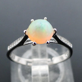 Sterling silver opal ring - 100% Natural Ethopian Round Opal Rings for Woman, Six Prong Settings Precious Opal Gemstone in