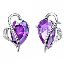 Stud earrings for women - 20% Silver Earrings With Stones Purple And Blue Cubic Zirconia Fashion Jewelry Gift For Women