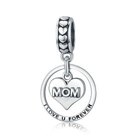 Sterling silver charm necklace - 100% 925 Sterling Silver Mom I Love You Forever Heart Charm Pendant Fit Women Bracelet &