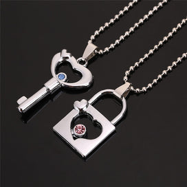 Crystal bead necklace - 2 PCS/Set Couple Necklace For Women And Men Hollow Key Lock Pendant With Crystal Paired Necklace For