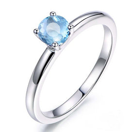 0.8 Carat Round Cut Classical Ring Pure 925 Silver Sky Blue Natural Topaz Ring Fashion Engagement Wedding Ring