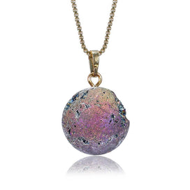 Crystal stone necklace - Mineral Crystal Ball Necklaces Gold & Silver Natural Druzy Stone Necklaces Moon Planet Ball For