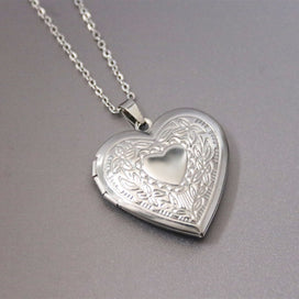 Charm necklace chain - 1pc Engraved Heart Photo Frame Love Heart Pendant Necklaces Stainless Steel Charms Locket Necklace