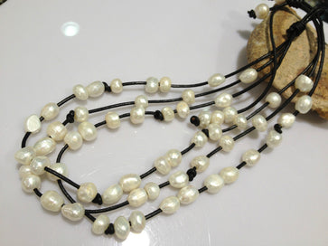 Multi strand pearl necklace - Baroque Freshwater Pearl Necklace Multilayer Black Leather Necklace For Women Casual White Grey