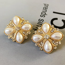 Clip on earrings for women - Sweet Flower Pearl Crystal Square Clip Earring