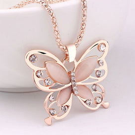 Opal butterfly necklace - Fashion Jewelries Women Necklaces Rose Gold Opal Butterfly Charm Pendant Long Chain Necklace Shiny