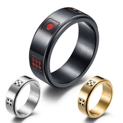 Titanium rings for women - Spinner Ring for Women Dice Game Points Novelty Ring Black/Gold/Silver Color Titanium Ring Bar 8mm
